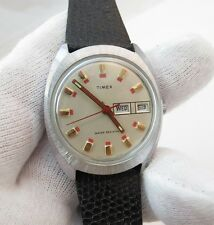 """TIMEX,Manual Wind,Full-sized ,""""Red Day/Date Dial"""" Blk Leather MEN'S WATCH,485"""