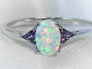 Sterling Silber Ring mit Amethyst und Feueropal