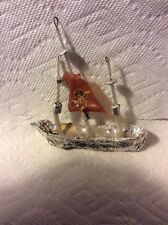ANTIQUE GERMAN SEBNITZ CLIPPER SAILING SHIP WITH ANGEL CHRISTMAS ORNAMENT