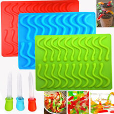 Snake Worms Silicone Gummy Chocolate Candy Maker Mold Bar Ice Tray Jelly Mould