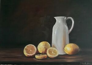 A3 size Original oil painting on board. Jug and lemons realism collectible art