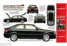 1991-1996 AUDI S2 QUATTRO SPEC SHEET/Brochure/Prospekt: 1992,1993,