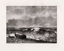 """Exciting 1800s Jean Desire GUSTAVE COURBET Antique Print """"The Waves"""" COA"""