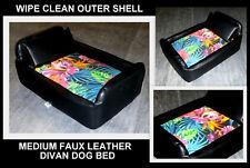ZIPPY MEDIUM TROPICAL DIVAN DOG BED FAUX LEATHER & WASHABLE COTTON PRINT COVER