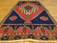 "Unique 1950-1960's Vintage 1'6"" × 3'4"" Natural Dye, Wool Pile Tribal Rug"