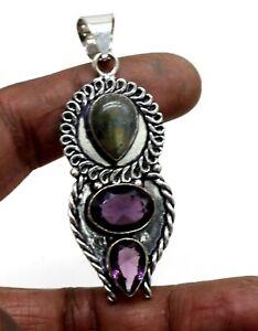 "925 Sterling Silver Amethyst & Labradorite Gemstone Jewelry Pendant Size-2.10"""