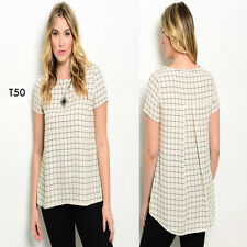 T50 Womens Plus Size 14/16 Tunic Woven Casual Loose Summer T-Shirt Blouse Tops