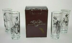 Victorian Trading Co Gibson Girl Glassware Highball Clear  4 Victorian Women