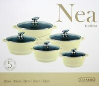 5pc Ceramic Coated Non Stick Die-Cast Casserole Set INDUCTION Cookware CREAM SH