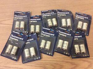 VTG SYLVANIA Blue Dot FLUORESCENT LAMP STARTERS FS2 Ten 2 Packs 14-20 Watt