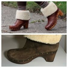 Ugg Brown Suede Lynnea Clog Sherpa Fold Over Boots 8