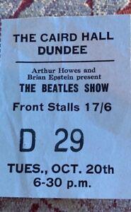Original Rare Beatles October 1964 unused Concert Ticket - Dundee, Scotland