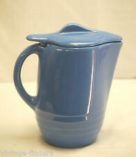 Vtg. Oxford Ware Universal Pottery Blue Pitcher Jug w Ice Guard & Lid MidCentury
