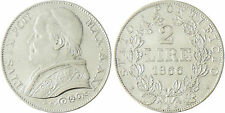 VATICAN  PIE  IX  2  LIRE  ARGENT  1866  ROME  AN  XXI