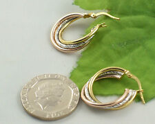Sassi AR029 3C Ladies Multi-Colour 9ct 375 Gold Creole Hoop Leverback Earrings