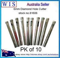 10/PK 6mm Diamond Tile Drill Bit for Glass,Ceramic,Porcelain,Marble & Granite