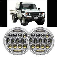 """WHITE CHROME 7"""" Headlights for Toyota Landcruiser HZJ75 75 78 79 series"""