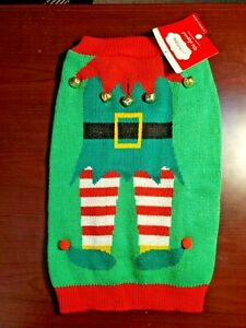 NEW ~ Petholiday Collection ~ Dog Apparel Christmas Elf Sweater w/ Bells size M