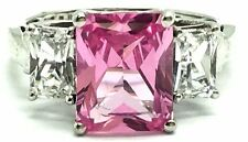 Sterling Silver Emerald Pink Mozambique Tourmaline CZ Accent Cocktail Band Ring
