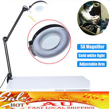 Large Lens Lighted Lamp Desk Magnifier Magnifying Glass with Clamp Light 5X AU
