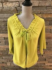 NWOT Lime Green Summer Cropped Sweater - Grosgrain Ribbon Tie - Size Large