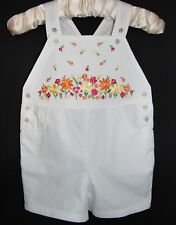 Laura Ashley vintage summer 97 girls cotton embroidered shorts dungarees 5 years