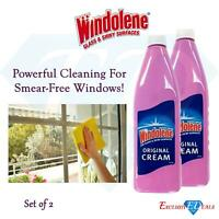 2 x Windolene Original Cream For Glass & Shiny 500ml Smear Free Windows