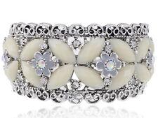 Metal Vintage ish Cream Bead Crystal Rhinestone Bead Flower Bracelet Bangle Cuff