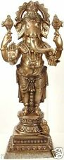 "Master Large Fine Ganesha Stand Bless Jai God Statue 35""Brass Hindu Figure 27 KG"