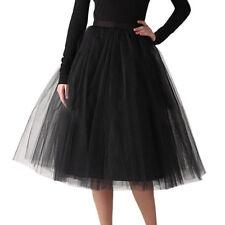 Women Layers Tulle Skirt Long Dress Princess Ballet Voice Tutu Dance Puffy Skirt
