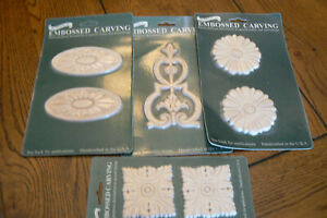 Lot 4 Packages Millworks Wood Embossed Carvings Appliques Furniture USA NIP