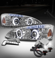 04-08 PONTIAC GRAND PRIX HALO LED PROJECTOR HEADLIGHTS LAMP CHROME W/DRL+HID KIT