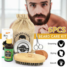 6Pcs Men Beard Care Styling Clean Kits Scissors Grooming Oil Balm Brush Comb+Bag
