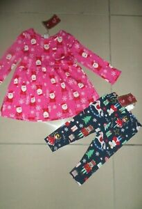 NWT TU BABY GIRLS PINK SANTA DRESS & NAVY CHRISTMAS LEGGINGS 9-12 MONTHS