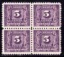CANADA POSTAGE DUE #J9 5c DARK VIOLET, 1930 BLOCK/4, VF, OG-LH