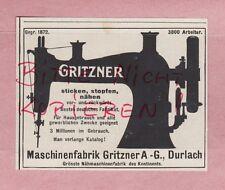 DURLACH, Werbung 1918, Maschinen-Fabrik Gritzner AG Nähmaschinen-Fabrik