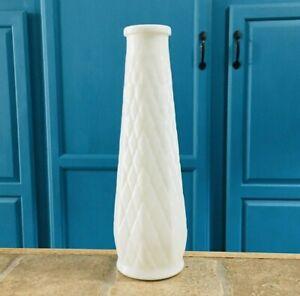 Vintage White Milk Glass Flower Vase Diamond Design Etched Wedding Centerpiece