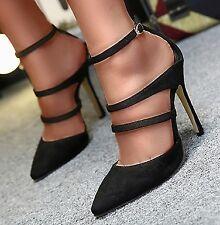 8cecfb3d33 Scarpe decolletè donna 39 nere eco pelle cinturino caviglia sexy schiava