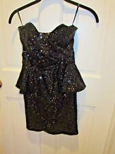 TFNC Sequin Dress w Peplum Black Sequins Sz XS Mini Bodycon Party Strapless PROM