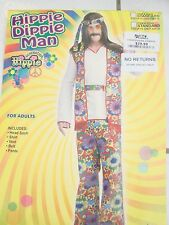 Mens Hippie Costume Flowered pants Jacket belt white shirt size standard
