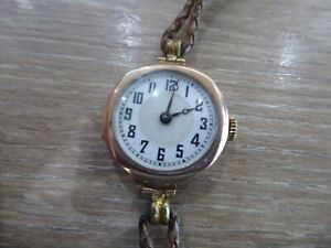 QUALITY VINTAGE 9 CARAT GOLD 15 JEWELS WITH ENGRAVING WRISTWATCH. WORKING