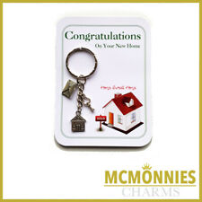 NEW HOME HOUSE KEY RING CHARM CONGRATULATIONS CARD GIFT TAG KEYRING CHARMS