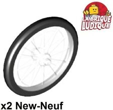 Lego 2x roue jante wheel rayon tire pneu hard rubber bicycle vélo 92851c01 NEUF