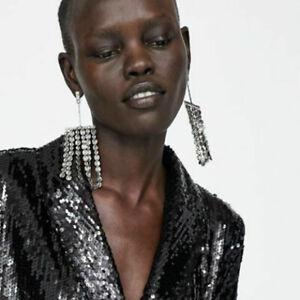 ZARA Dark Silver Metallic Fringe Long Large Dangly Statement Earrings BNWT