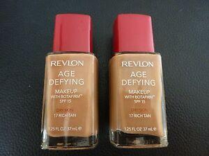 Revlon Age Defying Liquid Makeup / Foundation - RICH TAN #17 - DRY - 2 Bottles
