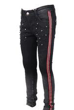 Trendy  Mädchen Jeans mit Seitenstreifen und Perlen stretch 4-14 Jahre