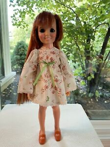 Ideal Crissy Family Beautiful Crissy Doll, Extra Cream Floral Dress & Turq Dress