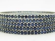 5 18k White Gold Blue Sapphire Eternity Bangle Bracelet 45.60ct tw 83.2 Grams