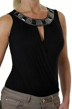 NEW (4065-1) Ladies Stunning Party Bodysuit Wrapover Beaded Neckline Black 6-16