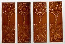 lovely Pilkingtons group of 4 Original period antique tiles Art Nouveau Majolica